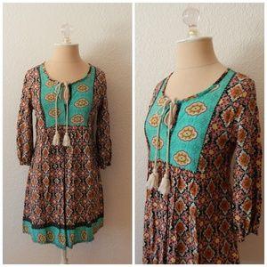 Persaya Boho Hippie Tunic Mini Spring Sun Dress